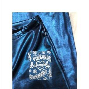 Free People Pants - Free People Metallic Blue Leggings Medium